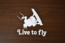 NEW EXTRA LARGE 27.5CM WHITE LIVE TO FLY KITESURFING STICKER DECAL KITE SURF