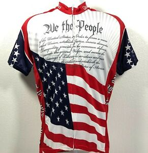 US Constitution Cycling Jersey by World Jerseys Mens Sz M Full Zip Short Sleeve