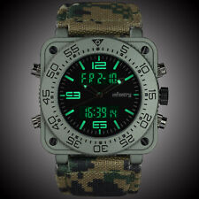 INFANTRY Mens Digital Quartz Wrist Watch Chronograph Date Alarm Camo Nylon Army
