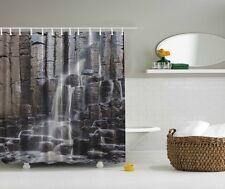 Waterfall Photographic Fabric Shower Curtain Rocks Stones Scenic Bath Decor