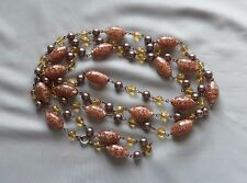 Vintage Egg Shape Foil Bead, Yellow Crystal & Taupe Pearl Flapper Necklace