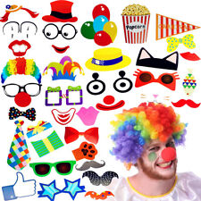 36x Photo Booth Selfie Props Funny Circus Clown Kids Adult Birthday Party Decor