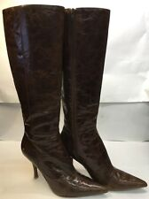 Nine West Brown Leather High Boots Heels Women's Sz 8 M Ladies Distressed