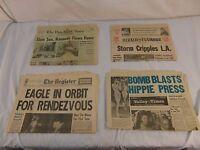QTY 4 Vintage Historical Newspaper Elvis Dead, JFK Dead, Moon Landing, Attack