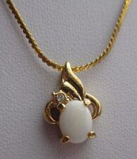 pendentif chaîne rétro bijou vintage cristal diamant  imitation opale 2123