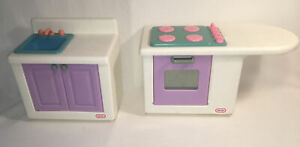 SET Little Tikes My Size Dollhouse Kitchen Stove Top Oven & Sink counter units