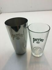 Perrier Sparkling Water Advertising Stainless Steel Shaker + Perrier Glass