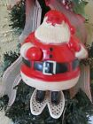 VINTAGE E. ROSEN PLASTIC SANTA CLAUS ON SNOW SHOES CANDY CONTAINER