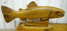 "37 Inches Hand Carved Wood Fish / Salmon Signed "" Carved by Wayne Harms 1979 """