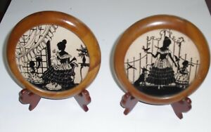 Vintage 1937 Reverse Black Painted Glass Silhouette Lady Child Set of 2 w/Easels