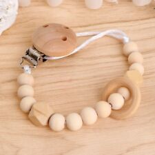 Baby Toddler Infant Dummy Pacifier Soother Nipple Wooden Chain Clip Holder Gift