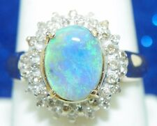 OPAL SOLITAIRE & DIAMOND ACCENTS RING SOLID 10K GOLD 4.3g SIZE 9