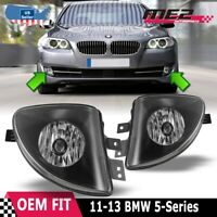 Fits 11-13 BMW 5 Series PAIR OE Bumper Replacement Fog Light Lamps Clear Lens