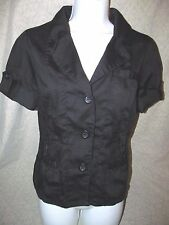 MISS LONDON Funky sexy Military/Utility style Black front button top juniors L