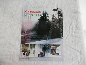 1998 Simplicity snow thrower snowthrowers  brochure