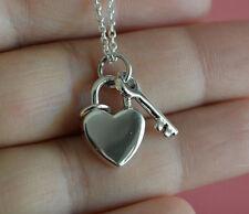 Heart Key Necklace - 925 Sterling Silver Love Heart Key Charm Necklace