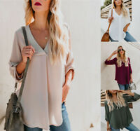 Fashion Women Solid Lady Long Sleeve Loose V-Neck Tops Shirt Casual Tunic Blouse