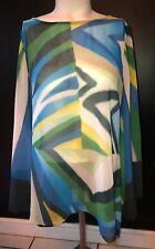 BLACK LABEL BY CHICO'S MULTI COLORED GEOMETRIC KIMONO SLEEVE BLOUSE TOP 0 S
