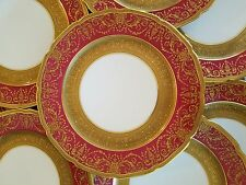 12 Limoges Guerin Porcelain Dinner Plates,Ruby Red Raised Gold Encrusted Gilded