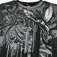 Tony Hawk Men's Graphic T Shirt Small S Black Gray Eagle Gothic Short Sleeves