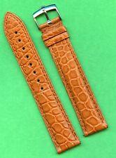 GENUINE ROLEX STEEL BUCKLE & GEN. ALLIGATOR BROWN STRAP BAND 18mm LEATHER LINED