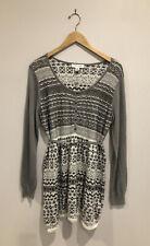 Motherhood Maternity XL Sweater Gray Top Long Sleeve Knit 1/2 Button Tunic Belt