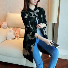Ladies Korean Loose Camouflage Knitting Cardigan Coat Fashion Long Jacket Slim