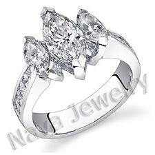 3.20Ct Marquise 3Stone Diamond Engagement Ring VS2-I