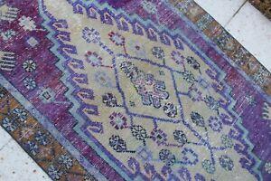 """Vintage Handmade Turkish Small Purple Rug 4'11""""x3'3"""""""