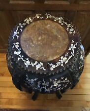 Chinese Pedestal Table , Hand Carved ,Mother Of Pearl Inlay, Marble top