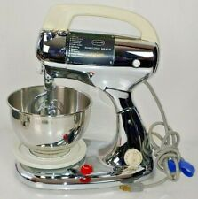 Vintage Hamilton Beach Scovill Model 25 Chrome Mixer With Beaters Bowl Stand Usa