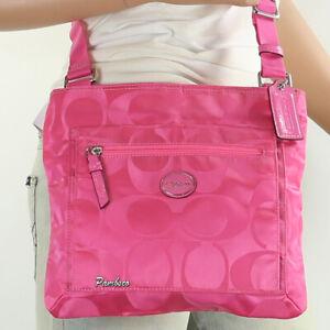 NWT Coach Signature Nylon Getaway Shoulder File Bag Crossbody F77408 Pink New