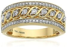 10K Yellow Gold Filled White Topaz Infinity Ring Wedding Women Jewelry Band Gift