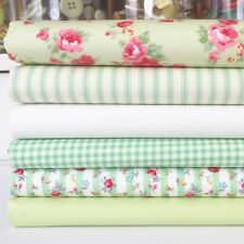 Verde Manzana Cottage Rose 6 Pieza Cuarto Gordo paquete 100% algodón