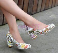 New Fahion Womens Elegant Floral Print Pumps Block High heels Slip On Shoes Size