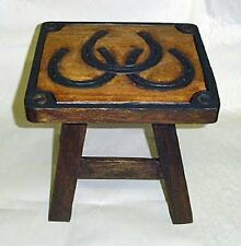 NEW WOODEN HAND CARVED PAINTED FOOTSTOOL FOOT STOOL TRIPLE HORSESHOES