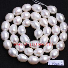 """8-10mm Natural White Freshwater Pearl Oval Shape DIY Gems Loose Beads Strand15"""""""
