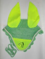 Horse Earnet Crochet Fly Veil Equestrian Fly Bonnet/veil/Fly mask FFE29 (PGreen)