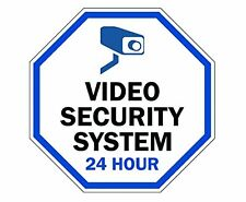 """Aluminum Sign Legend """"Video Security System 24 Hour"""" 10"""" tall octagon, A-2"""