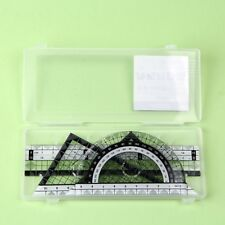 Plastic Drawing Set With Ruler Square Triangle Protector Geometry Set#