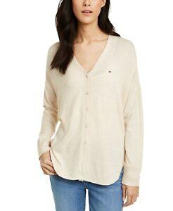 Tommy Hilfiger Women's Cardigan Beige Size Medium M V-Neck Button Up $69- #521