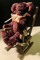 Handmade Mohair? TEDDY BEAR In Rocking Chair, ARBOR Signed JACKIE STRECKER, 1990