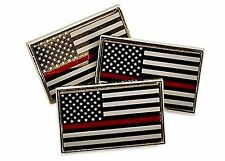 3 Pack of Thin Red Line American Flag Fire Fighter Lapel Pins Tie Tacks