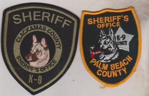 Palm Beach Co FL & Clackamas County OR Sheriff's K-9 patches