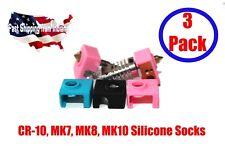 3pcs MK8, MK10, CR-10, Prusa Silicone Socks f/Heater Block Insulation 3D Printer
