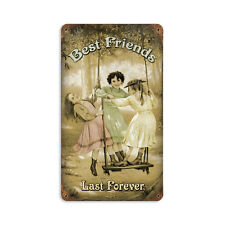 Vintage Style Retro Best Friends Forever Steel Sign 8 x14