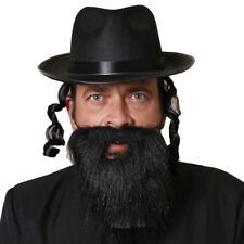 FEDORA WITH CURLY SIDEBURNS AND BEARD JEWISH RABBI FANCY DRESS COSTUME OUTFIT