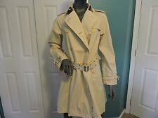 Womens Ralph Lauren Collared Belted Trench Coat Beige Size Medium VGC