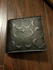 New Coach Men Black COMPACT ID 3-In-1 WALLET IN SIGNATURE CROSSGRAIN LEATHER