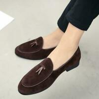 Men's suede Leather Slippers Loafers Slip on Bowtie Belgian Dress Shoes Oxfords